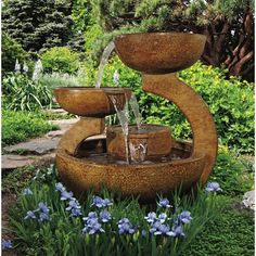 Handcrafted of durable cast stone, the Zen 3 Bowl Garden Fountain is to last a lifetime. The Zen 3 bowl designed fountain with multiple spills gives a dramatic flow of water to each tier below. Stone Fountains, Garden Fountains, Outdoor Fountains, Water Fountains, Garden Statues, Pond Landscaping, Landscaping With Rocks, Tabletop Fountain, Fountain Ideas