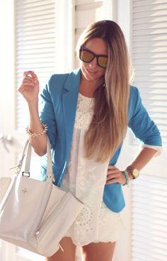 Lace dress + blazer - nice blue.... HotWomensClothes.com