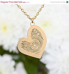 Christmas in July 25% OFF Gold necklace, sideways heart necklace, heart gold necklace, gold chain, gold jewelry, gold asymmetrical heart nec...