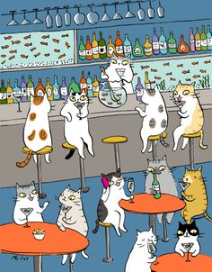 Cat happy hour tumbex - goropika.tumblr.com : catsbeaversandducks:Cute illus... (113163974578)