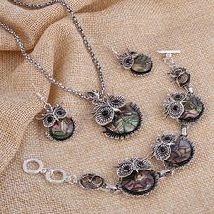 Abalone Owl Jewellery 3 piece Set                      – Jewelz Galore