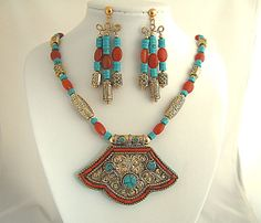 Handmade Tibetan Nepalese Pendant Necklace by JewelrybyIshi, $175.00