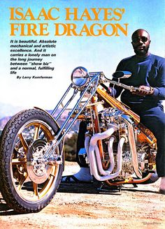 Isaac Hayes on his chopper Chopper Motorcycle, Bobber Chopper, Motorcycle Memes, Custom Motorcycles, Custom Bikes, Isaac Hayes, Bike Magazine, Old School Chopper, Retro Futuristic