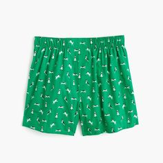 J.Crew Mens Dog Print Boxers In Green (Size M)