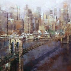 Mark Lague | Brooklyn Bridge Red and Violet | 36 x 48 | Oil | Sold