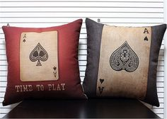 Decorative Throw Pillow Cover Vintage poker set