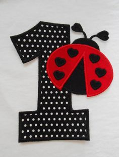 LadyBug Birthday Number 1 Iron on Applique Patch by PatchTastic, $10.00