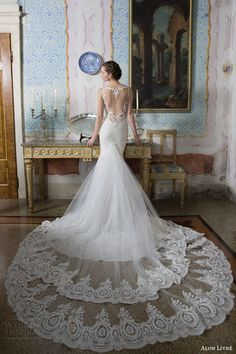 alon livne white bridal 2015 poly wedding dress heart shaped illusion back lace train view