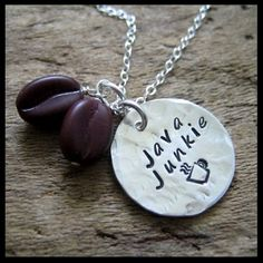 Java Junkie Sterling Coffee Bean Necklace Hand Stamped For the coffee lovers...or addicts! A hand cut Sterling silver disc is hand stamped with 'Java Junkie' in my Casual Hand Writing font and a st