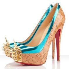 Christian Louboutin Cork Blue Mirror Asteroid With Gold Spike Pumps