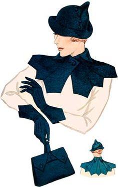 1930 Ladies Hat, Gloves, Purse and Collar Ensemble