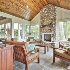 Covered Deck Fireplace Design Ideas, Pictures, Remodel and Decor Deck Fireplace, Fireplace Design, Fireplace Furniture, Sunroom Windows, Four Seasons Room, Sunroom Addition, Room Additions, Furniture Placement, Wood Ceilings