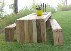 Rustic 2x4 picnic table