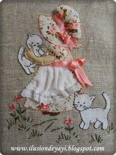 2 PORTADOCUMENTOS CON SUNBONNET + TUTORIAL - MyKingList.com Crochet Doily Patterns, Crochet Doilies, Quilt Patterns, Dress Patterns, Paper Embroidery, Embroidery Stitches, Machine Embroidery, Sunbonnet Sue, Point Lace