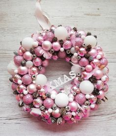 Ornament Wreath, Ornaments, Christmas Wreaths, Pink, Home Decor, Holiday Burlap Wreath, Interior Design, Embellishments, Pink Hair