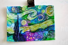 Day 1: glue/water mixture& tissue paper squares:  Day 2: draw the starry night! Have multiple color copies of the painting at each table so students can look as they draw. (Go over the elements of the painting as a class: identify the cypress tree, the church, the village, the moon...etc) Then get the kids to notice his brush strokes and the mixtures of colors. Crazy & beautiful things start to happen on the paper…