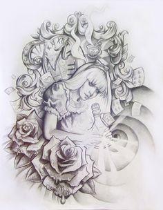 Alice in Wonderland Tattoo Design by illogan.deviantart.com