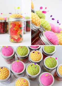 Pin Cushions - would be great to fill with a mini seam ripper, needle threader, extra sewing machine needles, tiny scissors.... Maybe gift as a 'start up kit' for a beginning sewer!