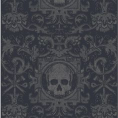 Abstract, bold, and a statement in any room, this Mitchell Black wallpaper offers beauty and fun without the commitment of traditional wallpaper. Re-positionable wall covering is the modern solution to traditional methods. With high opacity, this wal Gothic Wallpaper, Skull Wallpaper, Paper Wallpaper, Peel And Stick Wallpaper, Wallpaper Paste, Wallpaper Backgrounds, Black Wallpaper Bedroom, Eclectic Wallpaper, Watch Wallpaper
