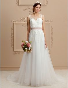 A-Line Jewel Neck Court Train Lace Tulle Wedding Dress with Appliques Sashes   Ribbons 8165b6c52138