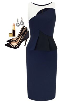 """Donna Paulsen Inspired Outfit"" by daniellakresovic ❤ liked on Polyvore featuring Roland Mouret, Gianvito Rossi, Tom Ford and Monica Rich Kosann"
