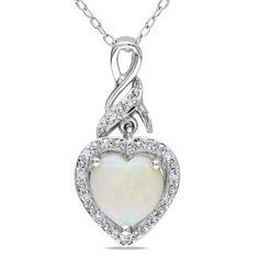 #Valentines #AdoreWe #Zales - #Zales 8.0mm Heart-Shaped Opal and Diamond Accent Swirl Pendant in Sterling Silver - AdoreWe.com