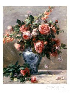 オールポスターズの ピエール=オーギュスト・ルノワール「花瓶の薔薇」ジクレープリント