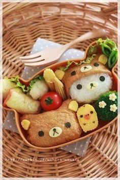 Photo Tutorial: How to Make Rilakkuma Inarizushi Kyaraben Bento by momo Japanese Bento Box, Japanese Food Art, Japanese Snacks, Bento Box Lunch For Kids, Cute Bento Boxes, Cute Food Art, Food Art For Kids, Bento Kawaii, Kawaii Cat