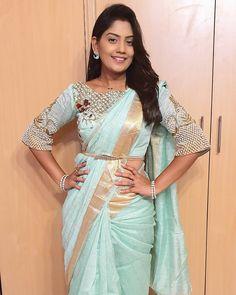 Image may contain: 1 person, standing Wedding Saree Blouse Designs, Pattu Saree Blouse Designs, Fancy Blouse Designs, Blouse Models, Saree Models, Stylish Blouse Design, Fancy Sarees, Saree Styles, Blouse Patterns