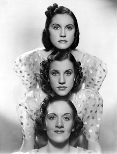 "The Andrew Sisters, 1940's...  ""The wonderful thing was that we were together for so many years. We dressed together, we slept together, we roomed together, we went shopping together, and of course we rehearsed together. We never separated."" - Maxene Andrews. ☀"