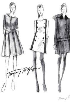 Fashion illustration - fashion design sketches // Tommy Hilfiger