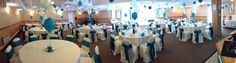 Bunting and balloons  look beautiful in teal for this wedding at Roundwood.
