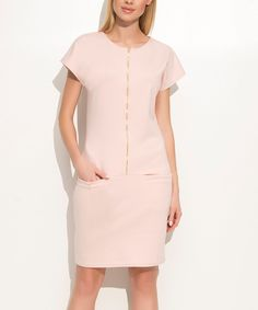 Take a look at this Makadamia Powder Pink Drop-Waist Dress today!