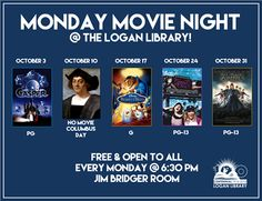 Monday movie night @ the Logan Library! Free & open to all.