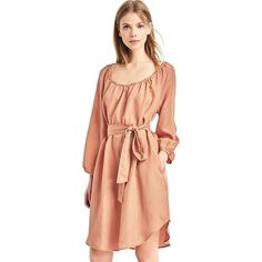 Gap Women Tencel Shirred Boatneck Dress featuring polyvore women's fashion clothing dresses coral tall rouched dress pocket dress tall dresses ruched dress tencel dress
