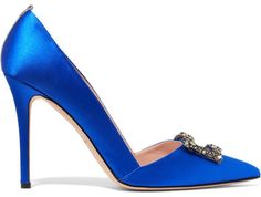 SJP By Sarah Jessica Parker - Windsor Embellished Satin Pumps - Bright blue