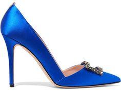 SJP By Sarah Jessica Parker - Windsor Embellished Satin Pumps - Bright blue