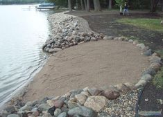 Losing your shoreline to erosion? We build the toughest riprap shorelines on earth. Ranch Landscaping Ideas, Small Yard Landscaping, Landscaping Retaining Walls, Lake Dock, Lake Beach, Lakeside Beach, Boat Dock, Backyard Beach, Ponds Backyard