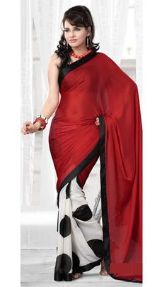 G3 fashions Red Cream Georgette Satin Party Wear Designer Saree  Product Code : G3-LS10882 Price : INR RS 2232