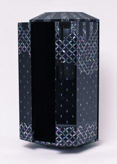 "Small Shrine of Noritaka Tatehana ""Katakana"", 2014 Pearl working, Japanese lacquer Urushi x Image Makers, Nature Animals, 21st, Japanese, Pearls, Pattern, Design, Japanese Language, Beading"
