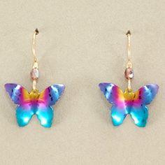 Holly Yashi Butterfly Earrings - Rainbow