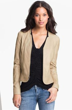 With pencil skirts?  Hinge® Scallop Collar Leather Peplum Jacket available at Nordstrom