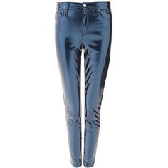 Topshop Petite Blue Vinyl Jamie Jeans ($20) ❤ liked on Polyvore featuring jeans, blue, distressed skinny jeans, blue ripped jeans, high-waisted jeans, ripped denim skinny jeans and blue skinny jeans