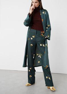 Çiçek desenli pantolon   MANGO