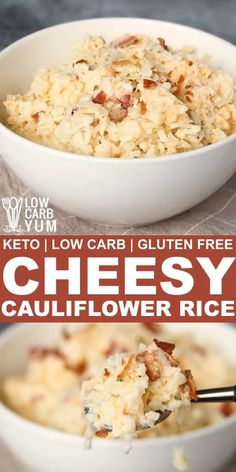 Only five simple ingredients and less than ten minutes are needed to whip up a delicious cheesy cauliflower rice. It makes a perfect keto meal. Low Carb Recipes, Beef Recipes, Cooking Recipes, Sausage Recipes, Healthy Recipes, Seafood Recipes, Pasta Recipes, Chicken Recipes, Recipies