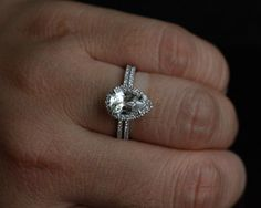 This exactly in oval!,,, 14k White Gold 9x6mm White Topaz Pear and Diamonds Engagement Ring And Wedding Band Set (Choose color and size options at checkout)