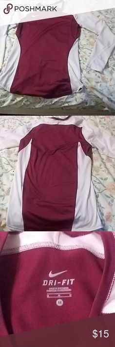 Nike Dri Fit long sleeve White and maroon is in excellent condition Nike Tops Tees - Long Sleeve