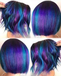 Hair Color Purple, Hair Dye Colors, Cool Hair Color, Galaxy Hair, Edgy Hair, Coloured Hair, Rainbow Hair, Love Hair, Hair Highlights