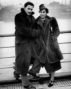 Salvador Dali and Gala arriving in New York
