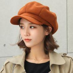 20c1926efaf63 HT1990 Auutmn Winter Hats for Women Solid Plain Octagonal Newsboy Cap Men  Ladies Casual Wool Hat Winter Beret Women Painter Cap